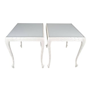 Acanthus Leaf Carved Tables With White Glass Tops - A Pair For Sale