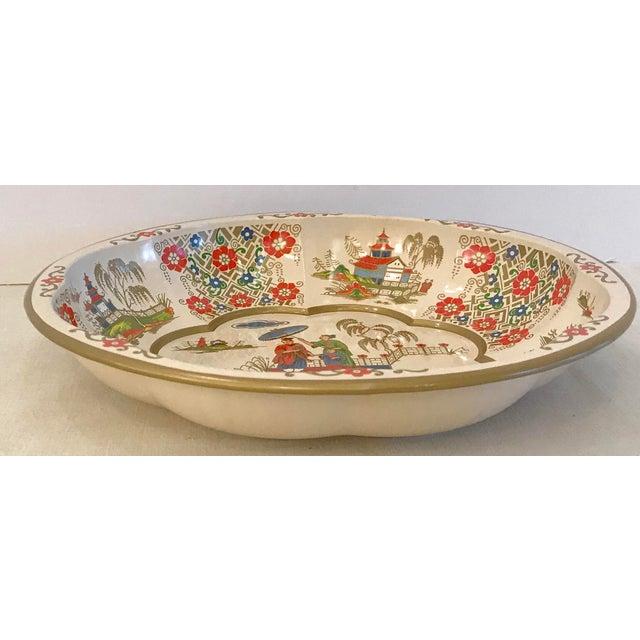 Vintage Oriental Theme English Tin Bowl For Sale - Image 5 of 9