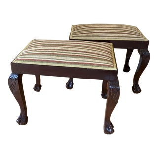 19th Century Vintage George III Style Stools- A Pair For Sale