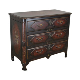 Hand Painted French Louis XIV Style 3 Drawer Chest For Sale