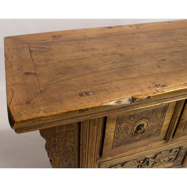 Asian Carved Antique Five-Drawer Sideboard For Sale - Image 3 of 4