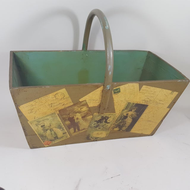 2010s Antique Victorian Postcard Decoupaged Wooden Tote Basket For Sale - Image 5 of 13