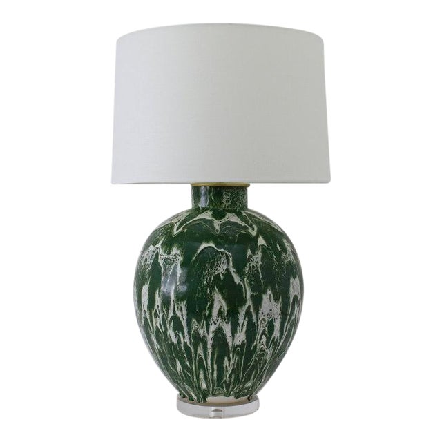 "Paul Schneider Ceramic ""Valentine"" Lamp in Drip Banded Forrest Glaze For Sale"