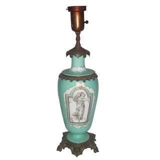 Neoclassical Teal Porcelain & Brass Lamp