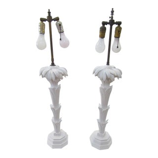 Serge Roche Style Palm Tree Table Lamps - a Pair For Sale