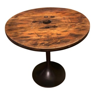 Industrial Reclaimed Wood and Cast Iron Card Table For Sale