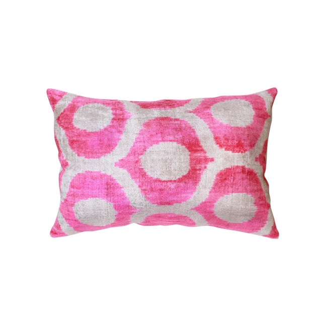"Pasargad Silk Velvet Bright Pink Ikat Pillow - 15"" X 24"" For Sale"