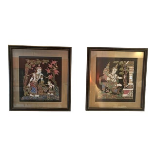 Late 20th Century Chinoiserie Paintings - a Pair For Sale