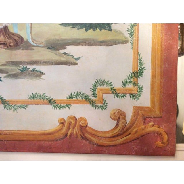1950s Vintage Huge Hand-Painted Fresco Painting For Sale In New York - Image 6 of 7
