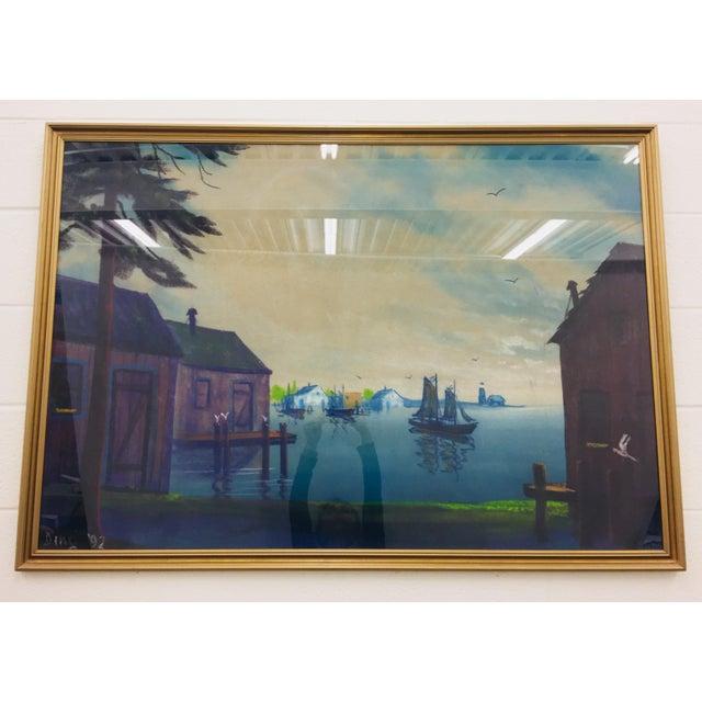 Cottage Original Framed Coastal Seascape Painting For Sale - Image 3 of 11