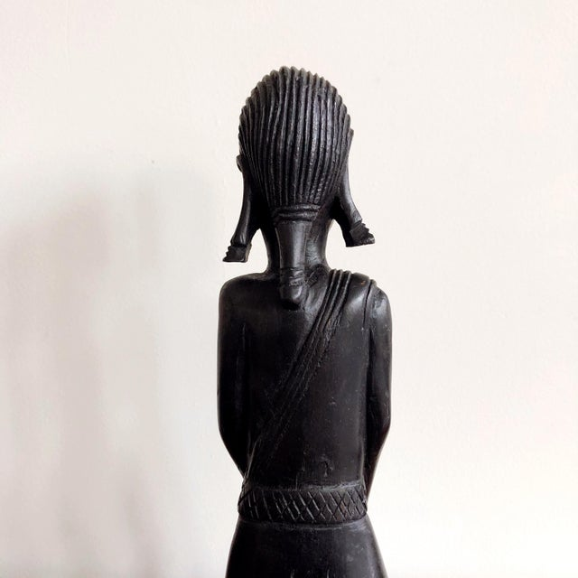 1980s Kenyan Onyx Wood Female Figure Statue For Sale - Image 5 of 8