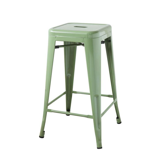 Mid-Century Modern Iconic Classic Green Metal Stool For Sale - Image 3 of 6
