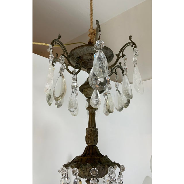 Late 19th Century Late 19th / Early 20th Century French Bronze Chandelier With Rock Crystals For Sale - Image 5 of 13