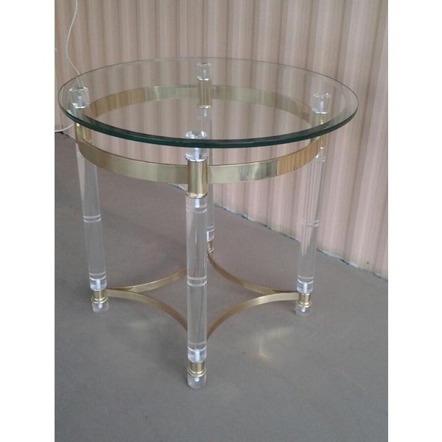 Vintage Lucite & Brass Occasional Table in the Manner of Charles Hollis Jones - Image 6 of 6