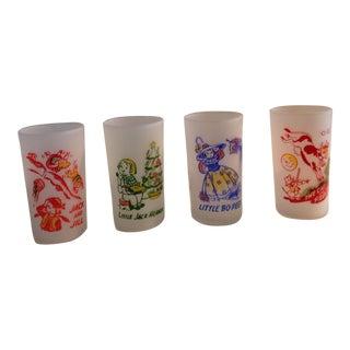 Vintage Nursery Rhyme Glasses - Set of Four For Sale