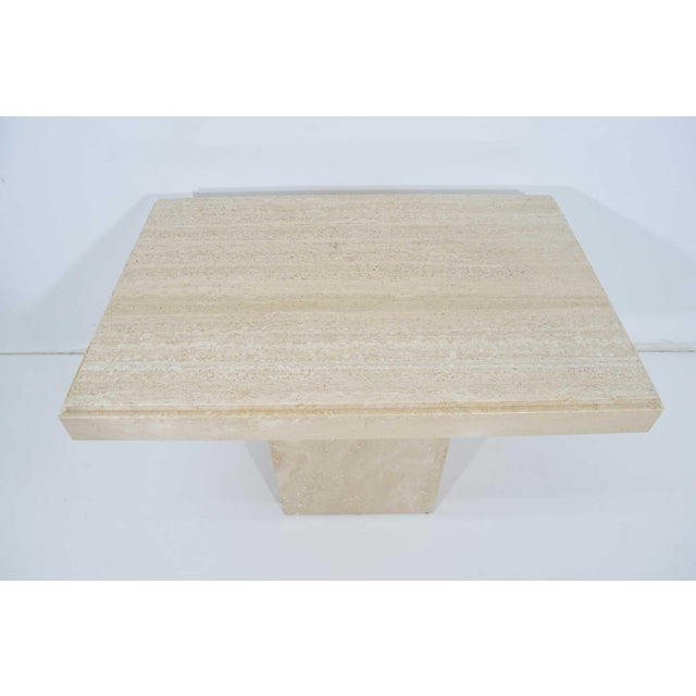 Travertine Marble Side Table For Sale - Image 4 of 9