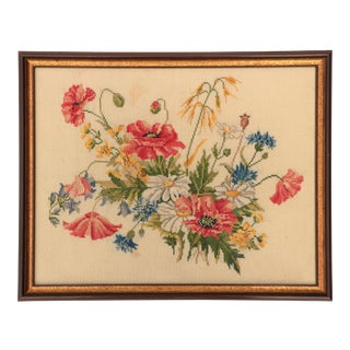 Vintage Danish Embroidery - Poppies and Wildflowers For Sale