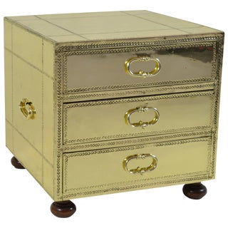 Sarreid Three-Drawer Small Brass Clad Chest For Sale
