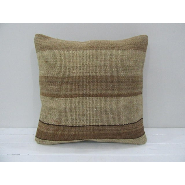 Vintage Handmade Brown Striped Kilim Pillow Cover For Sale - Image 4 of 4