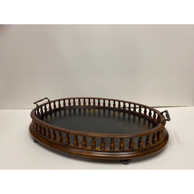 Black Mahogany Oval Gallery Tray For Sale - Image 8 of 12