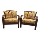 Image of Ethan Allen Jamaica Arm Chairs - a Pair For Sale