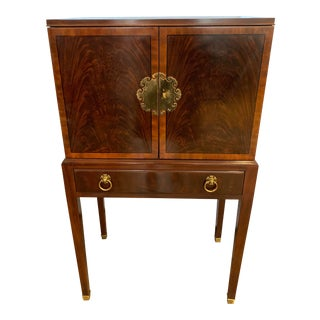 Drexel Mahogany Inlay Silverware Jewelry Cabinet Chest For Sale