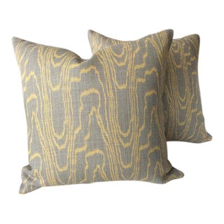 Groundworks & Lee Jofa Linen Swirl Pillows - a Pair For Sale