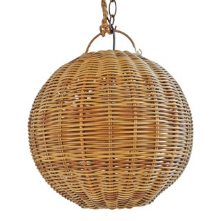 Faux Rattan Two Tone Globe Lantern For Sale