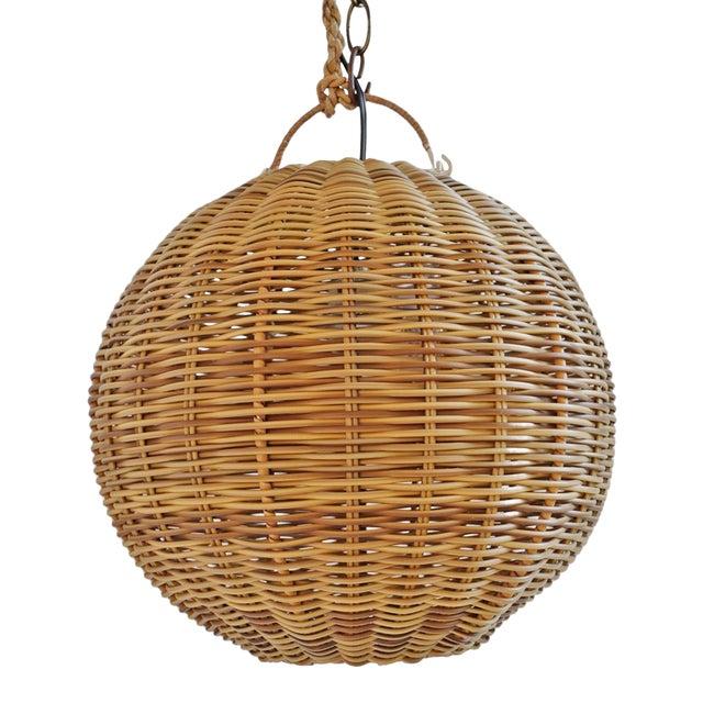 Faux Rattan Two Tone Globe Lantern For Sale