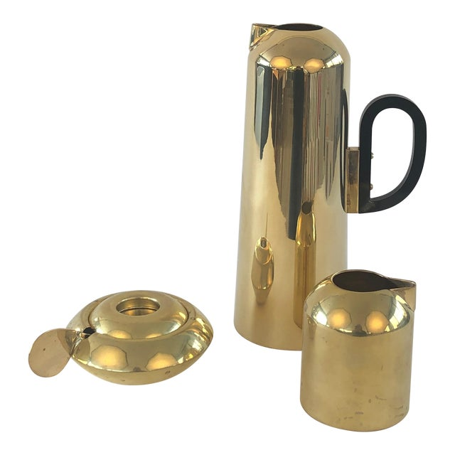 Tom Dixon Brass Form Jug, Milk Jug, Sugar Bowl and Spoon For Sale