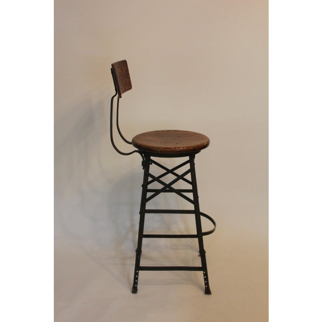 Industrial 1900s Vintage Industrial Bar Stools- Set of 3 For Sale - Image 3 of 5