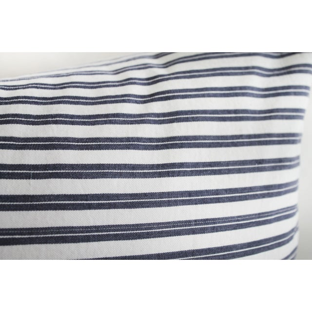 French Vintage Navy Blue and White French Ticking Stripe Lumbar Pillow For Sale - Image 3 of 7