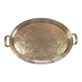 Vintage Gorham Oval Silverplate Tray With Handles - Heritage Pattern
