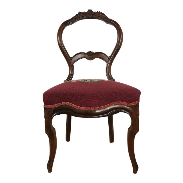 Victorian Style Vintage Carved Wood Side Chair For Sale