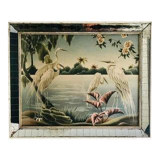 1940s Vintage Art Deco Style Mirror Framed Turner Egret Print For Sale