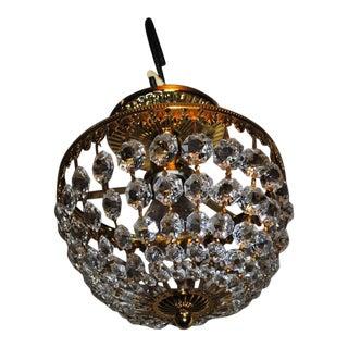 Vintage Schonbek Crystal Bead Chandelier Flush Mount Ceiling Fixture For Sale