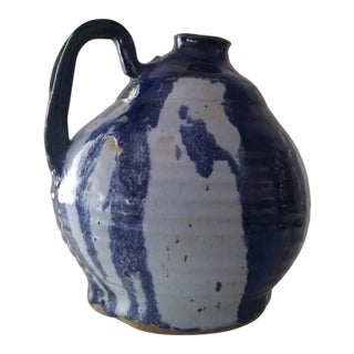 1970s Folk Art Blue Glazed Terracotta Jug For Sale