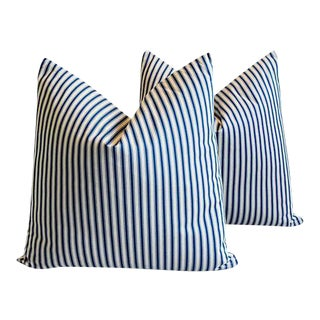 Custom Blue & White French Ticking Feather Pillows - A Pair For Sale