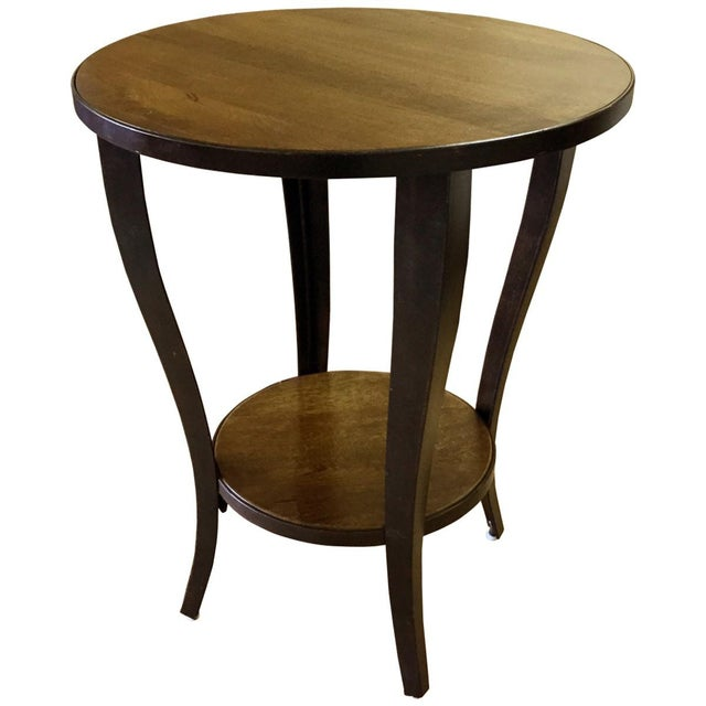Round Accent Side End Table With Shelf Pedestal Stand Wood for Sofa Living Room - Image 2 of 3