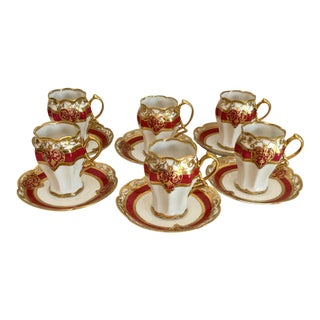 Antique Nippon Noritake Chocolate Cups & Saucers - Set of 6 For Sale