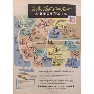 1920s Original Union Pacific Railroad Advertisement For Sale