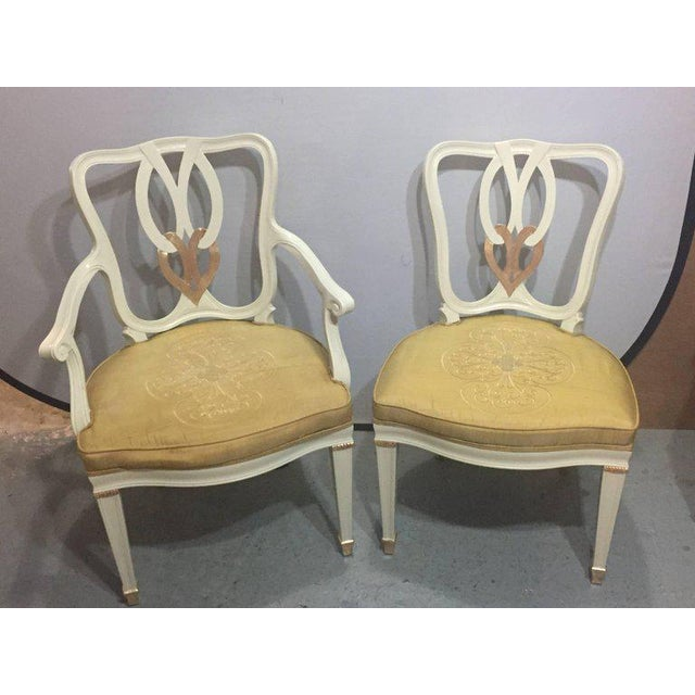 Hollywood Regency 8 Sweet Heart Dining Chairs Parcel Gilt Gold & Paint Decorated - Image 2 of 9