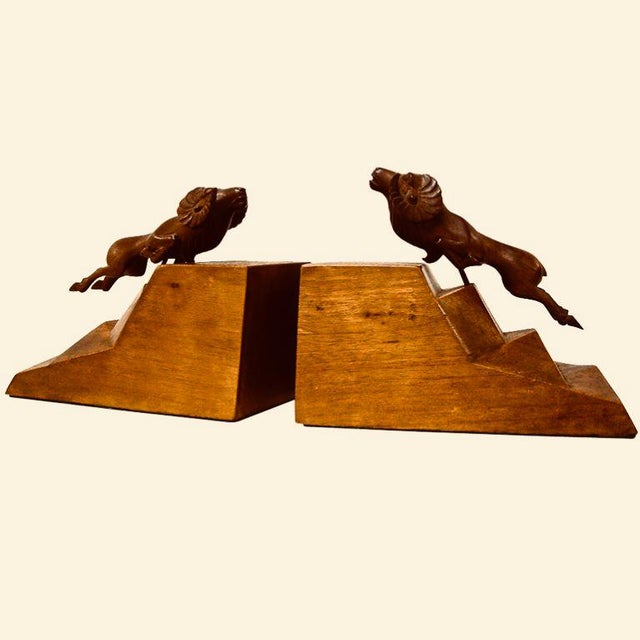 1930s Art Deco Ram Bookends - a Pair For Sale - Image 9 of 9