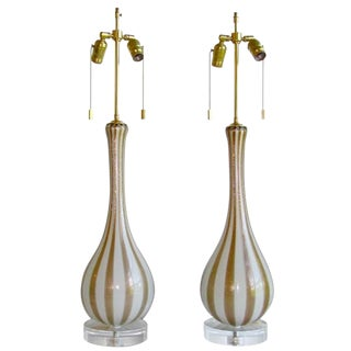 1950s Italian Barbini Murano Circus Stripe Glass Lamps - a Pair