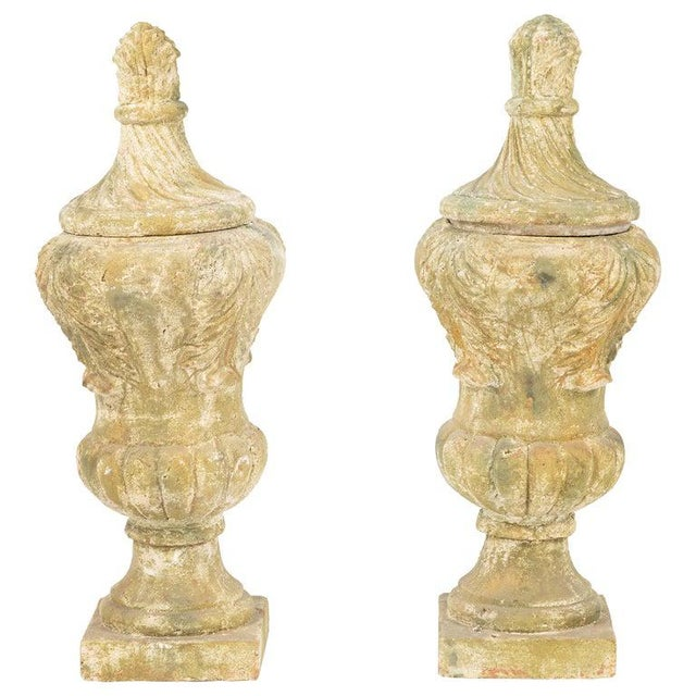 Tan Terracotta Covered Garden Urns - a Pair For Sale - Image 8 of 8