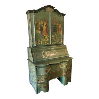 19th Century Italian Ornate Secretary Desk For Sale