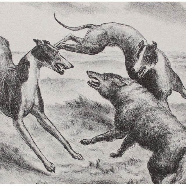 "American Classical 1939 John Steuart Curry, Original Period ""Hounds and Coyote"" Photogravure For Sale - Image 3 of 9"