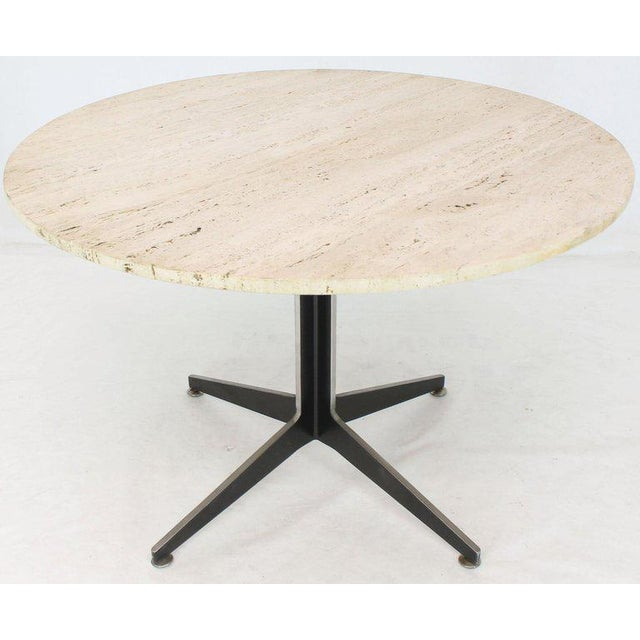 Black Round Travertine Top Fabricated Aluminium X-Base Cafe Dining Table For Sale - Image 8 of 8