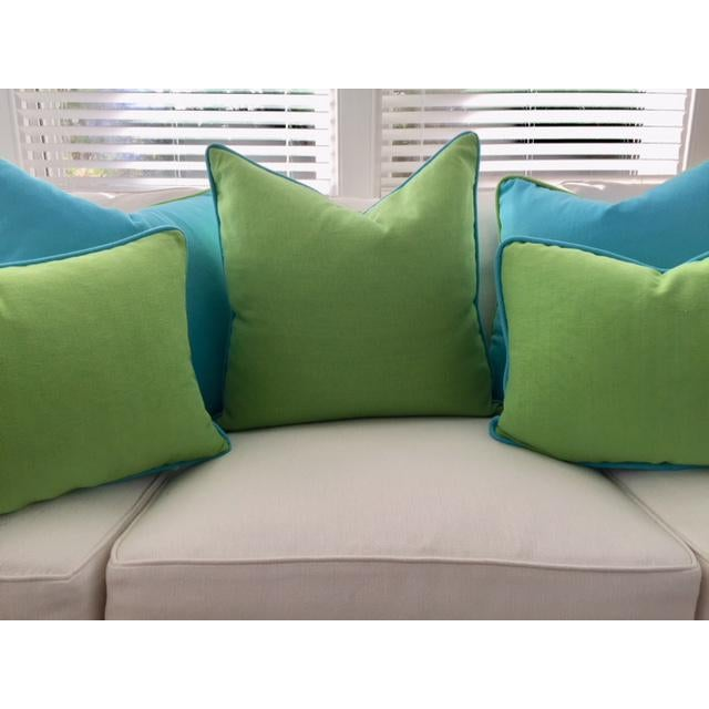 Lime Green With Turquoise Contrast Welt Pillow - Image 5 of 6