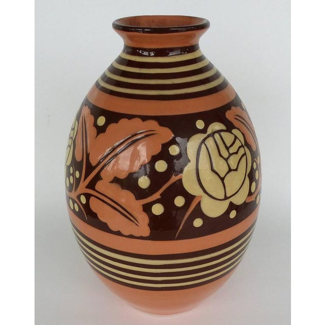 Superb Belgian Art Deco Ceramic Vase By Charles Catteau Decaso